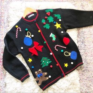 Vintage | Black Christmas Knit Cardigan Sweater M